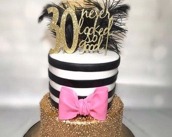 Gold 40th birthday Cake Topper 40 never looked so good 30th