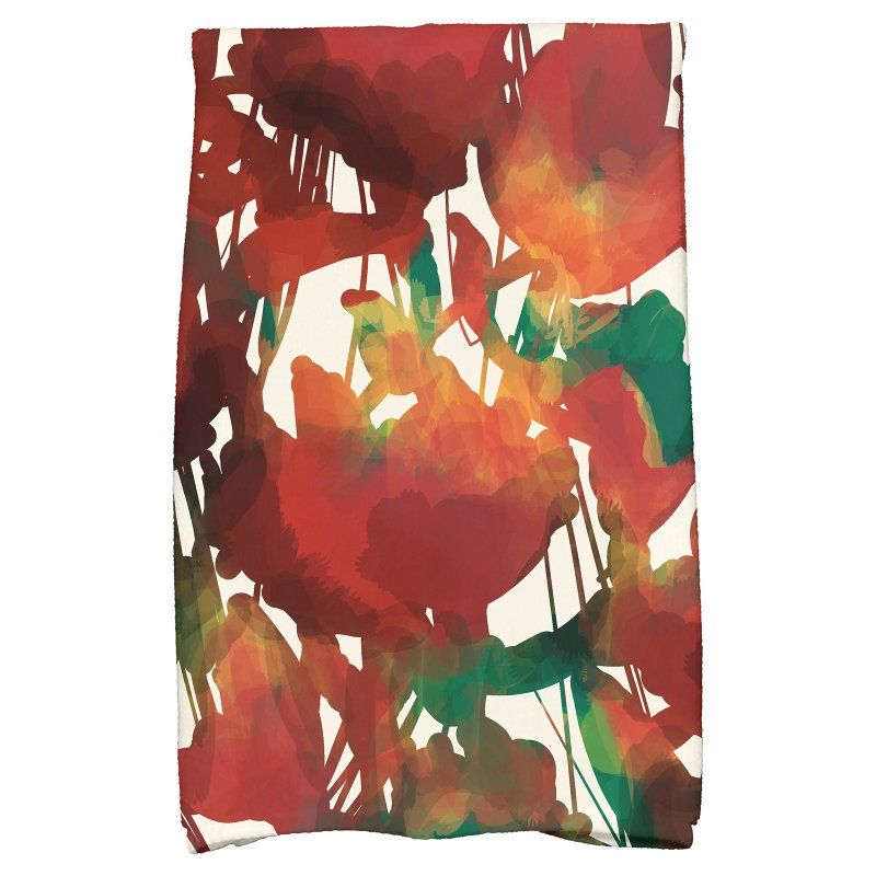 E by Design Flora and Fauna Abstract Floral Kitchen Towel Red - KTFN737RE2