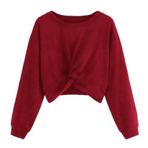 2604a15298be 2018 Autumn Winter Women Hoodies Long Sleeve Twist Solid Color Round Neck Sweatshirt  Women Harajuku Hoodies Sweatshirts Loose