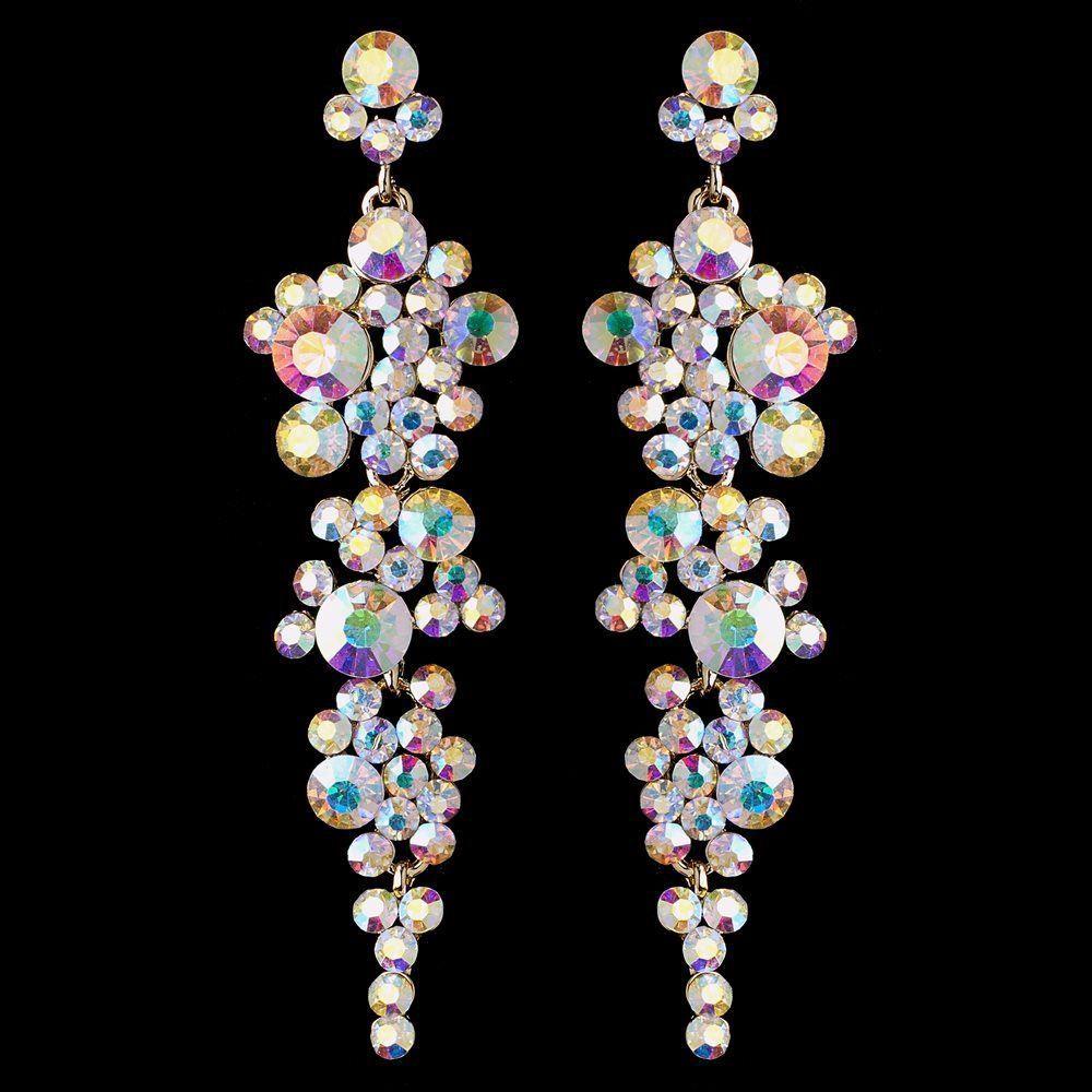 Gold AB Rhinestone Drop Wedding And Prom Earrings