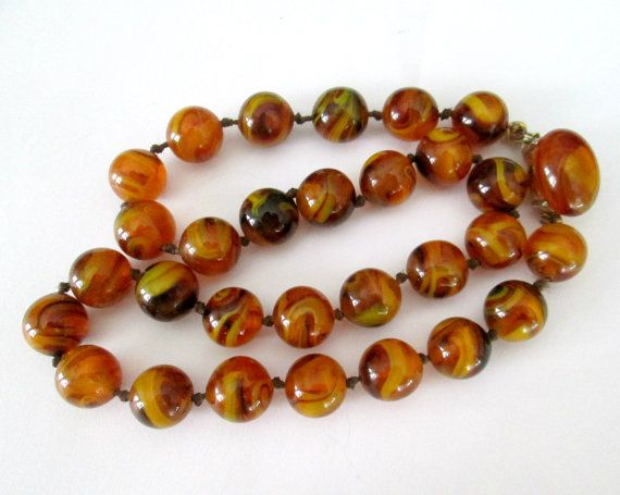 Amber Art Glass Necklace Crown Trifari Mid by looseendsvintage