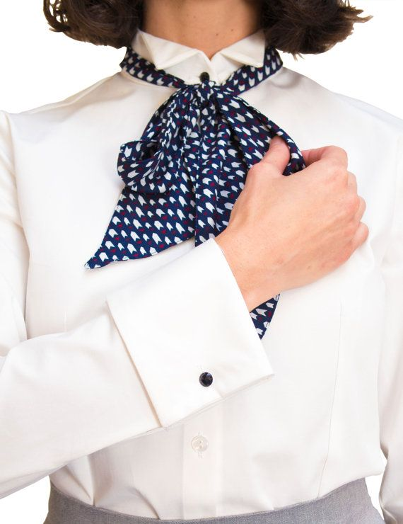 Frac Mood Shirt Cotton Shirt With Frac Collar And Cufflinks Retro Fabric Bow Handmade In Our Studio Women Wearing Ties Mood Shirts Cotton Shirt