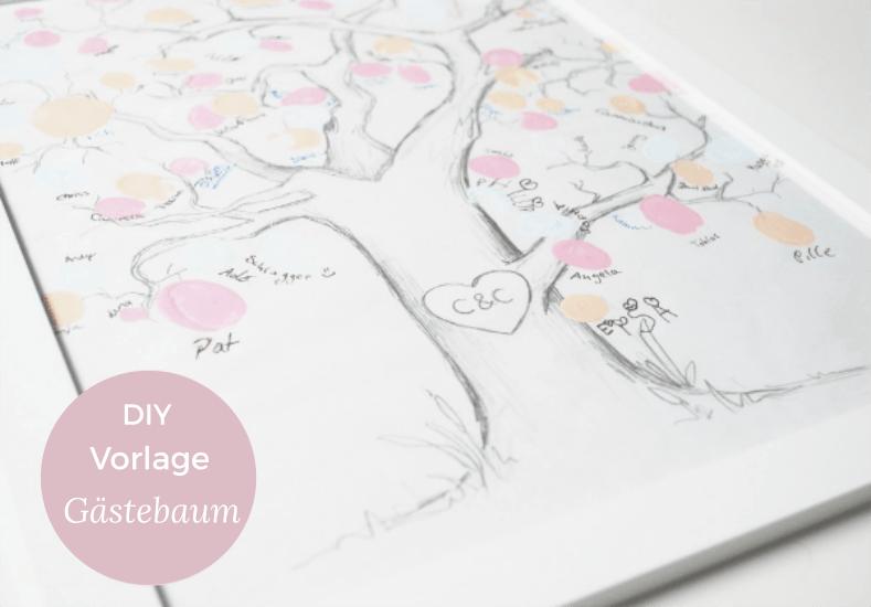 Eine kostenlose Vorlage für den Gästebaum / Fingerabdruckbaum zur ...