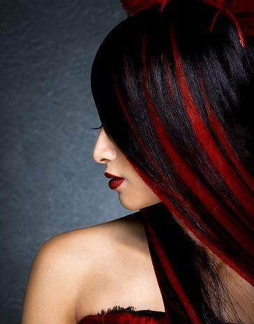 Black Hair With Fiery Red Balayage Bright Red Hair Color Bright Hair Colors Hair Styles