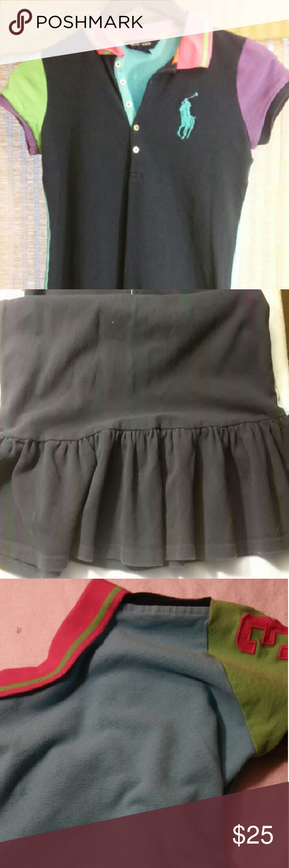 LIKE NEW Ralph Lauren Dress Classic Ralph Lauren girl's dress. Features large polo symbol, ruffled bottom, and collard neck. The front is navy blue and the back is sky blue. Very bright and colorful with pink, lime green and purple on sleeves and collar. Excellent condition. Ralph Lauren Dresses Casual