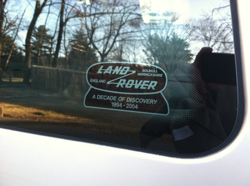 Land rover a decade of discovery 1994 2004 window sticker solihull warwickshire