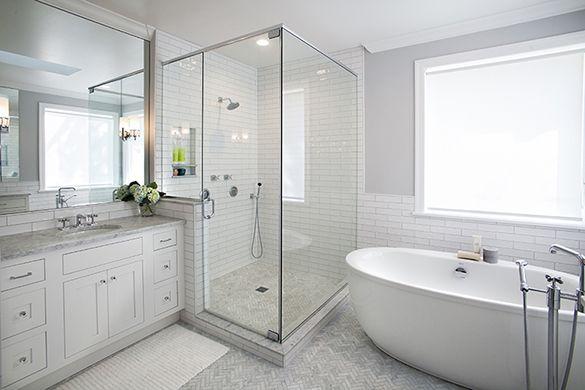 Transitional Master Bath Remodel White Tile Marble Freestanding Tub Corner Shower Bath Remodel Bathrooms Remodel Bathroom Remodel Master