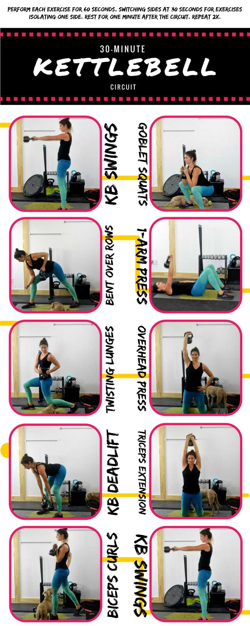 30 Minute full-body kettlebell circuit workout | Exercises ...