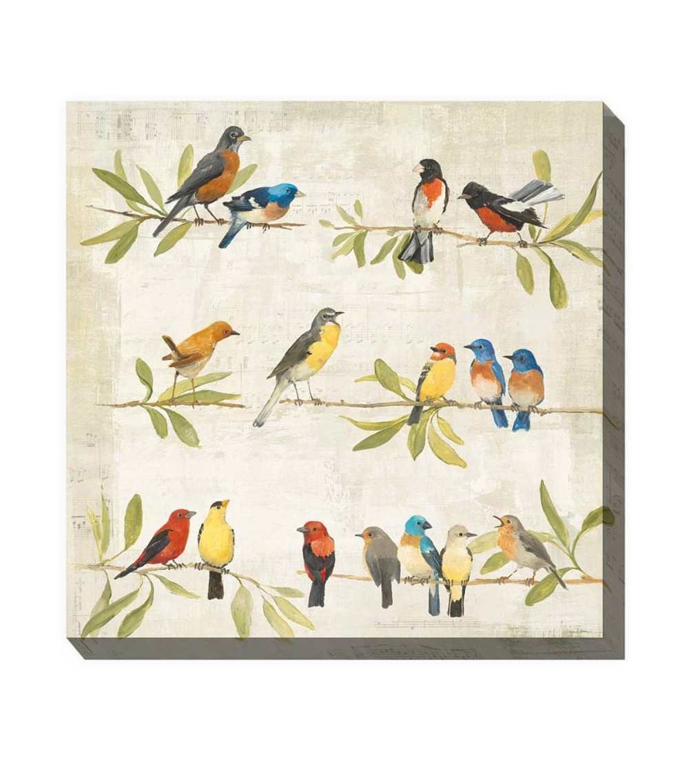 This Delightful Birdsong Outdoor Canvas Wall Art Captures The Beauty Of Familiar Backyard Songbirds With A U Dragon Wall Art Gallery Wrap Canvas Canvas Artwork