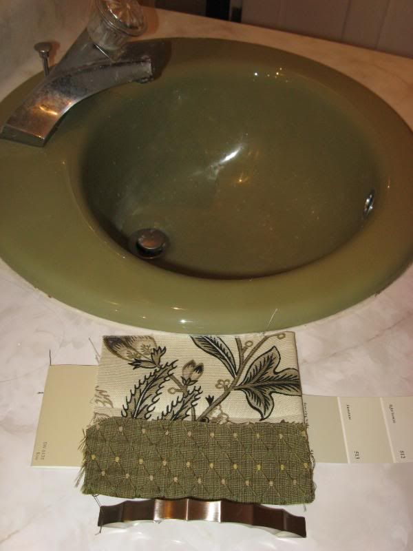 Updating a green bathroom. Love the countertop renovation ...