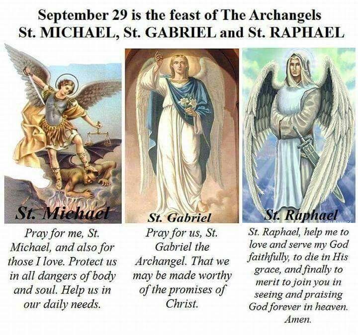 Sept 29 Feast of Sts Michael,Gabriel, & Raphael