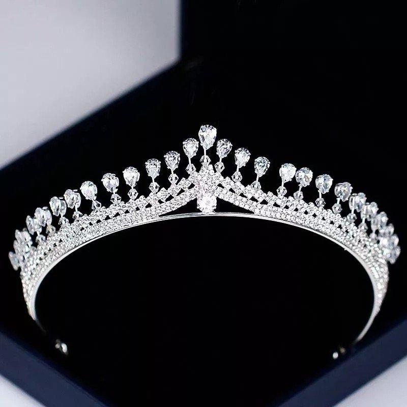 Women Rhinestone Zircon Queen Bride Crown and Tiaras Bridal Diadem Wedding Party Headpiece Hair Jewelry Ornament,Crystal tiara,bridal crown