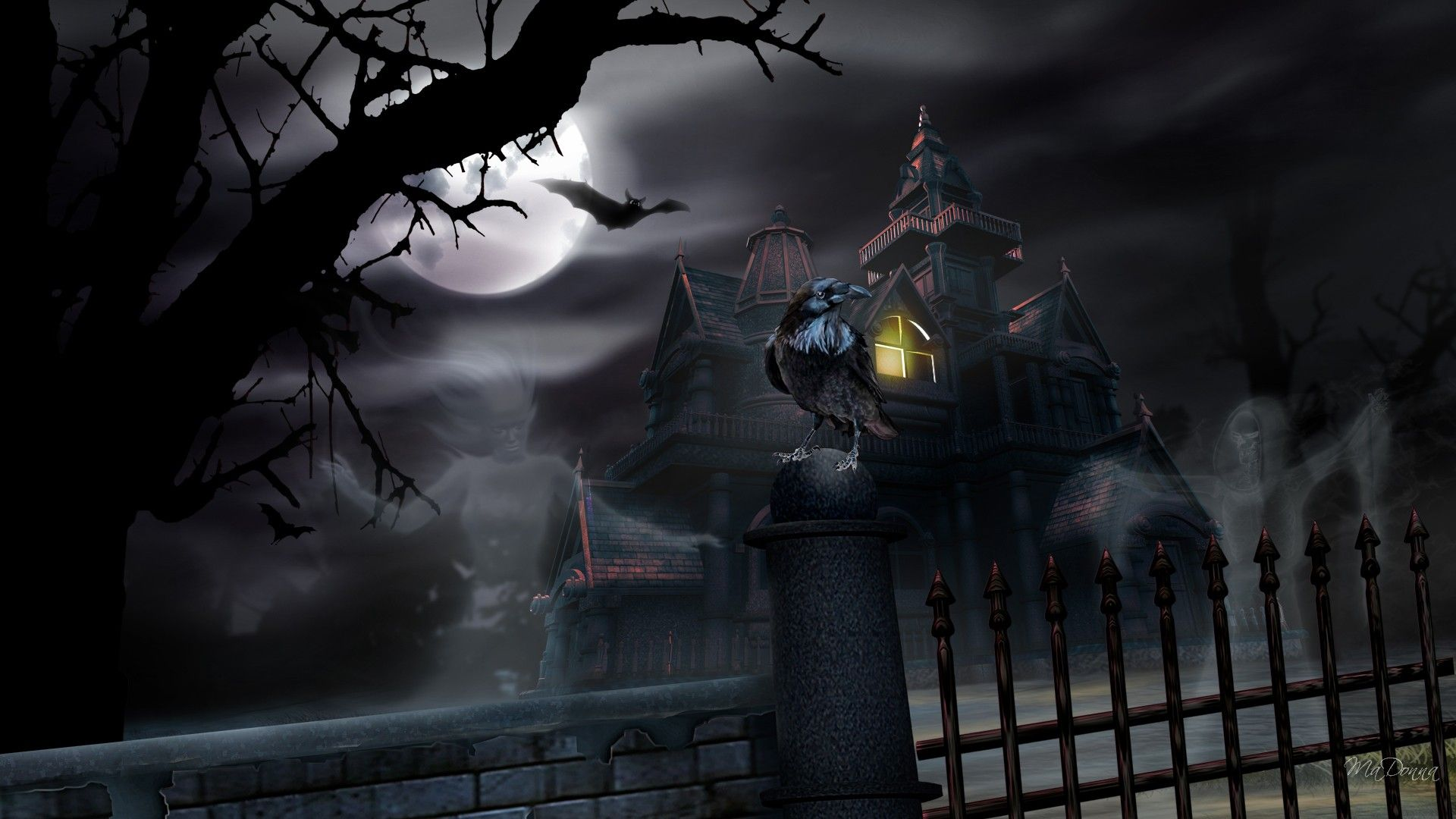 Dark Building Ghost House Wallpaper Free Halloween Wallpaper Halloween Desktop Wallpaper Halloween Backgrounds