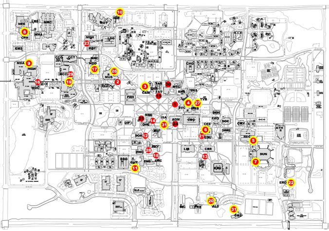 Map of public art installations on the #USF Tampa campus Campus