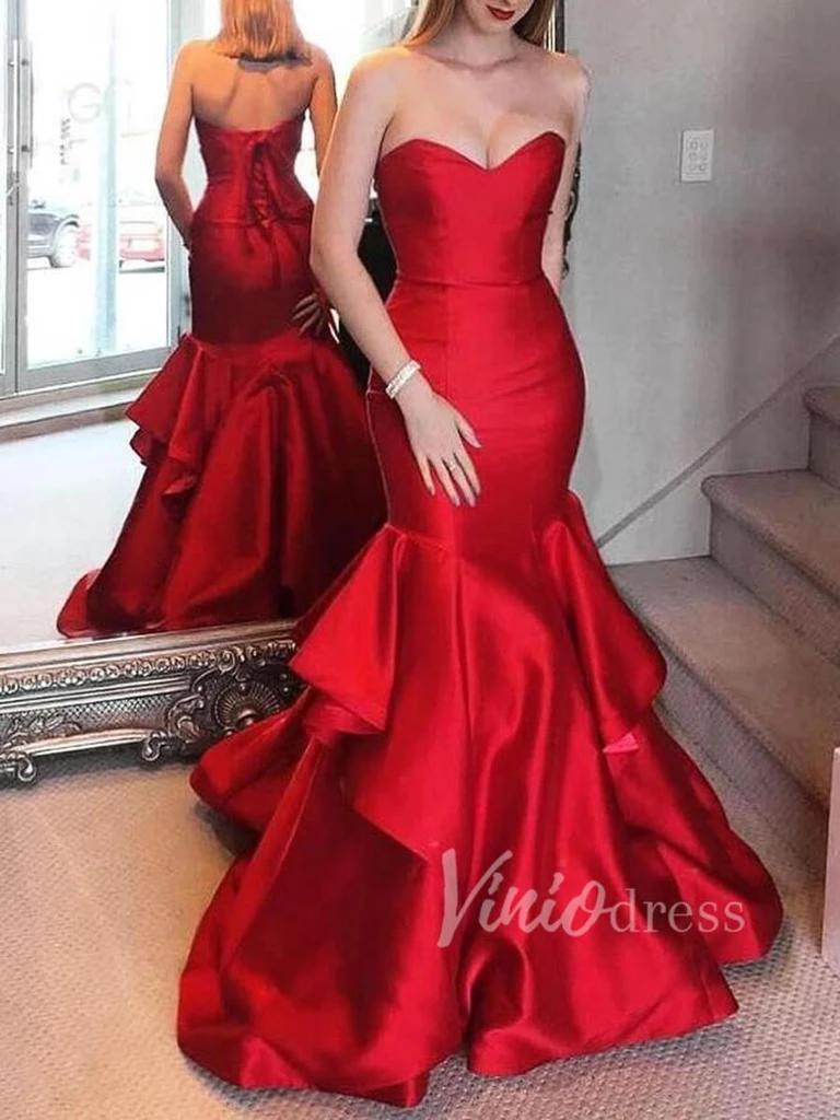 Strapless Red Mermaid Prom Dresses Corset Back Pageant Gown Fd1555 Red Mermaid Dress Red Mermaid Prom Dress Pageant Gowns [ 1024 x 768 Pixel ]