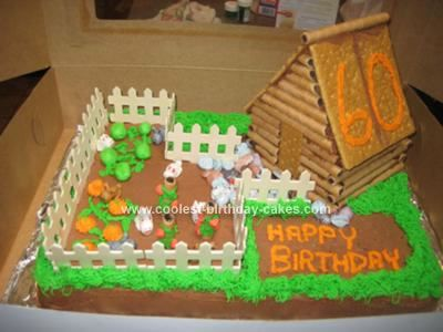 Coolest Log Cabin Birthday Cake With Images Birthday Farm