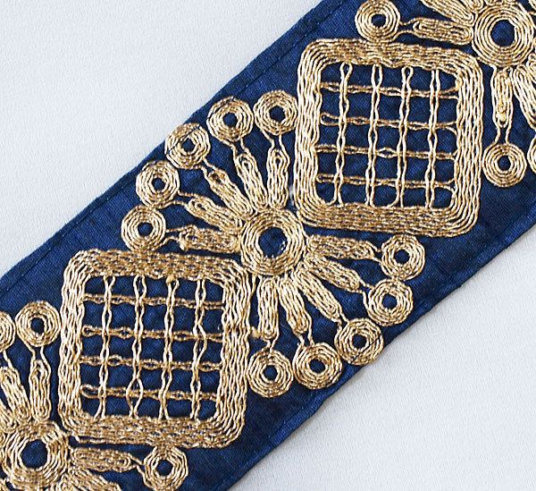 Wide Blue Trim, Embroidered With Metallic Gold. 3 Yards. picclick.com