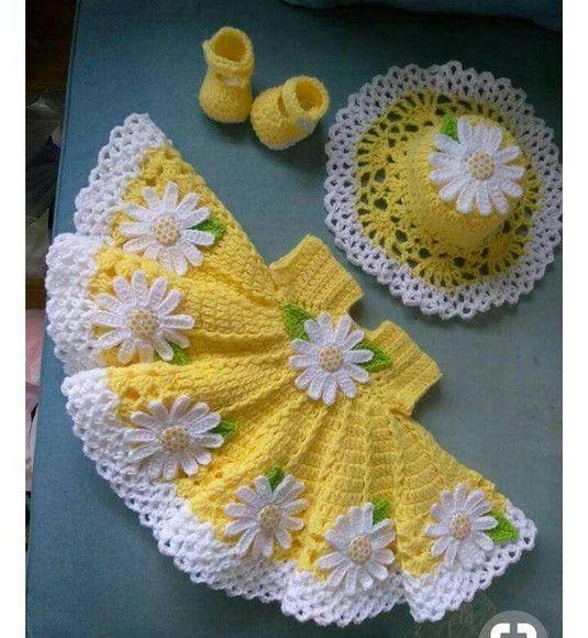 Compre Conjunto vestido infantil de croche no Elo7 por R  150 f105a92cc8607