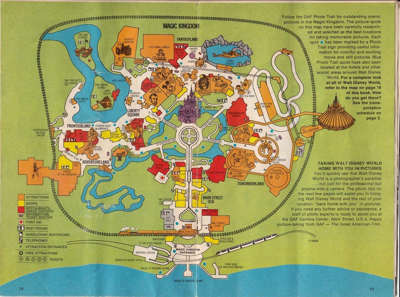 Magic Kingdom Map from 1977 Walt Disney World | Classic Disney ...