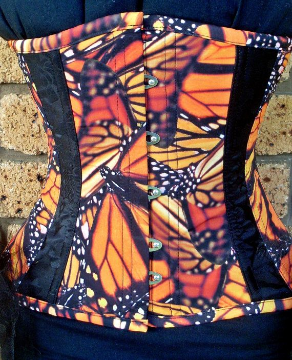 Monarch Butterfly Underbust Corset with Black by annaladymoon