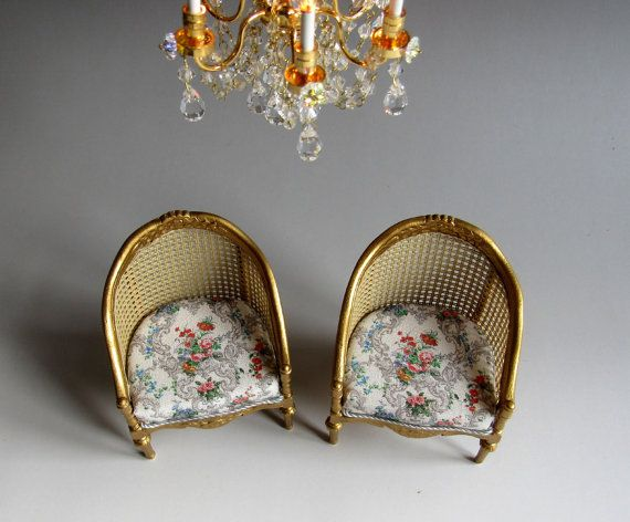 1:12th Scale Dolls House Pair Gilded Bergere by carolclarke1