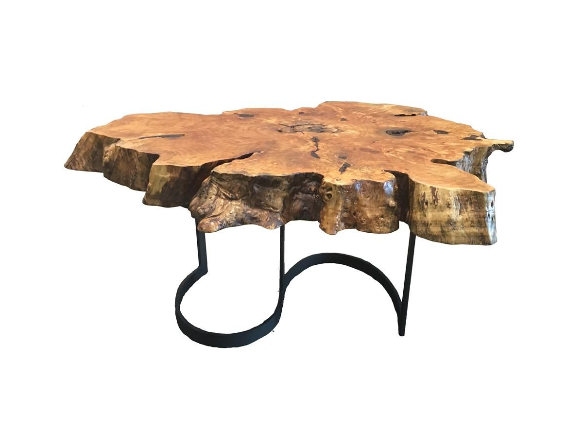 Willow burl wood coffee table with lunar black steel base