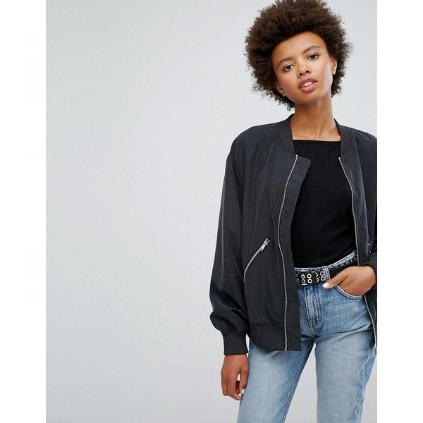 Weekday Bomber Jacket with Zip Pockets ($56) ❤ liked on
