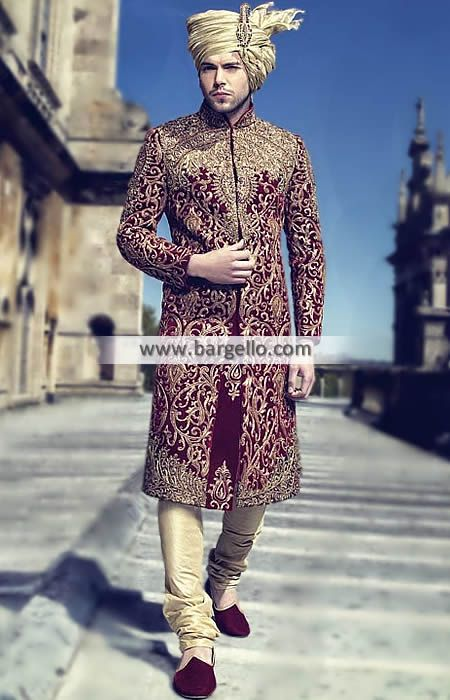 d69418e35f Royal Class Sherwani Suit for Grooms Color: Rosewood Fabric: Velvet Royal  class sherwa