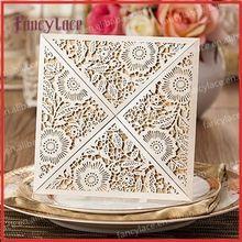 50 unids papel real Laser Cut invitaciones de boda, 20 colores pueden ser eligieron, invitación de boda del cordón con en blanco hoja interior(China (Mainland))