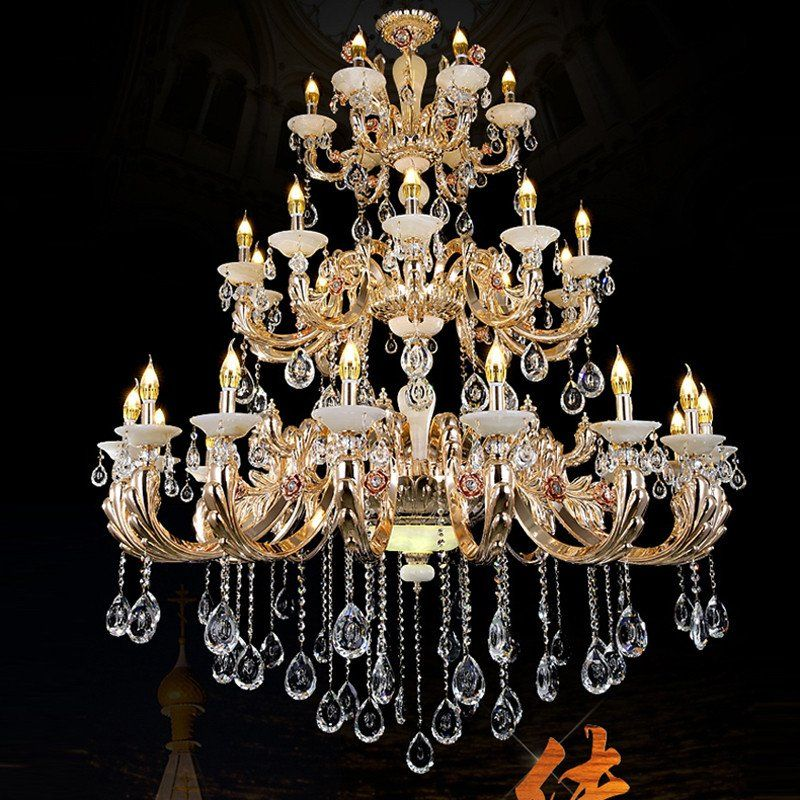 Gold Chandelier Antler Extra Large Chandeliers Hotel Hall Candle Living Room Retro Crystal