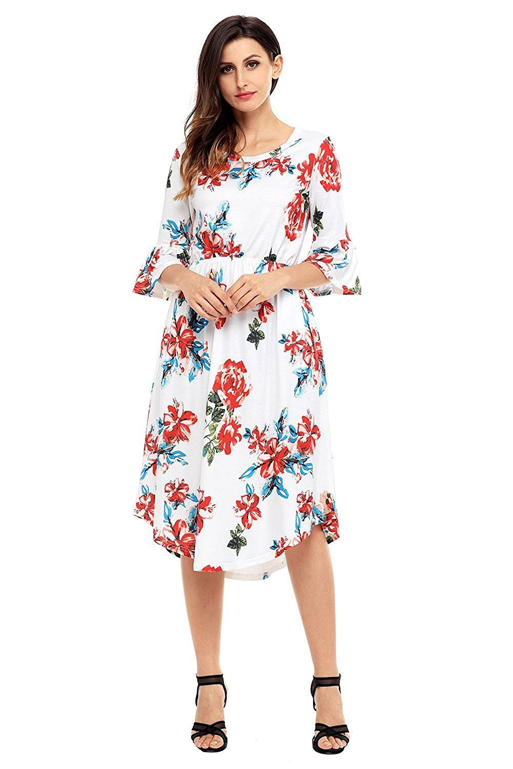 17bbd92833d Annflat Women s Summer Floral Print Bell Sleeve Casual Midi Dress S-XXL at Amazon  Women s Clothing store