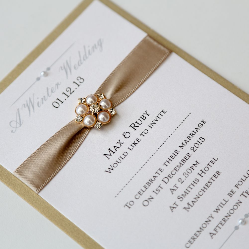 gold ivory flat wedding invitation with pearl brooch vintage wedding stationery scotland vows award nominee 2013 angelfins - Ivory Wedding Invitations