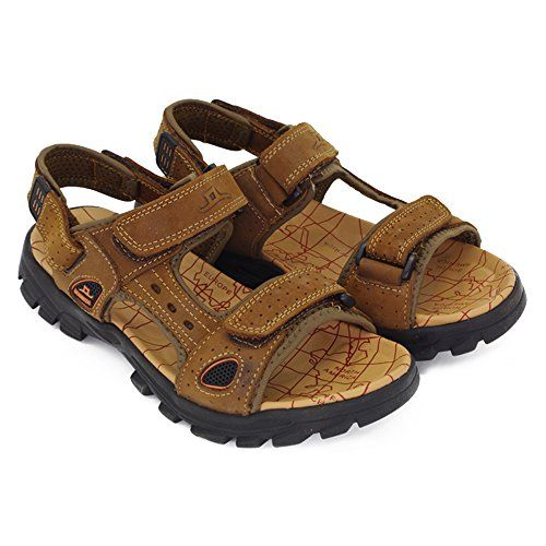 d15fe38fa184 Lijeer Sports Athletic Sandals Outdoor Summer Men Leather Hiking Beach Shoes  Breathable Exposed Toe Strap Walking
