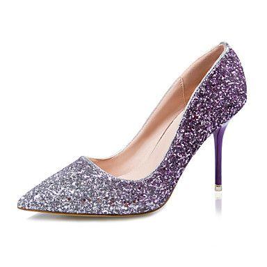 Shoes For Women Glitter Stiletto Heel Heels Pointed Toe Closed Toe Heels Dress Blue Purple Red Gold