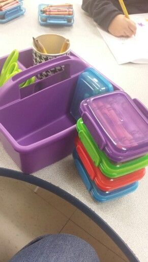 These Are Snack Containers From The Dollar Tree They Hold A Box Of 24 Crayons Perfectly And My Table Or Snack Containers Crayon Organization Crayon Storage