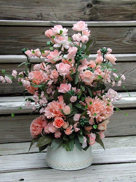 Peach silk flowers silk floral design wedding centerpiece all peach silk flowers silk floral design wedding centerpiece mightylinksfo