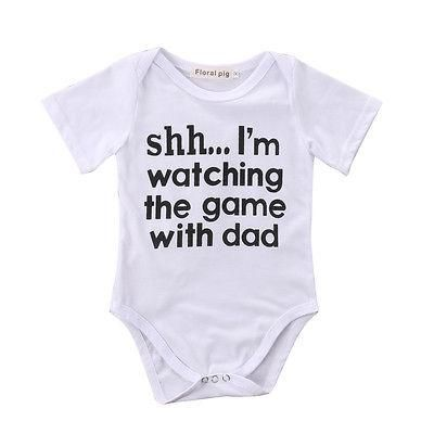256850b02697 Cotton Newborn Infant Baby Boy Girls Romper Jumpsuit Clothes Outfits Funny  Words Printed Romper
