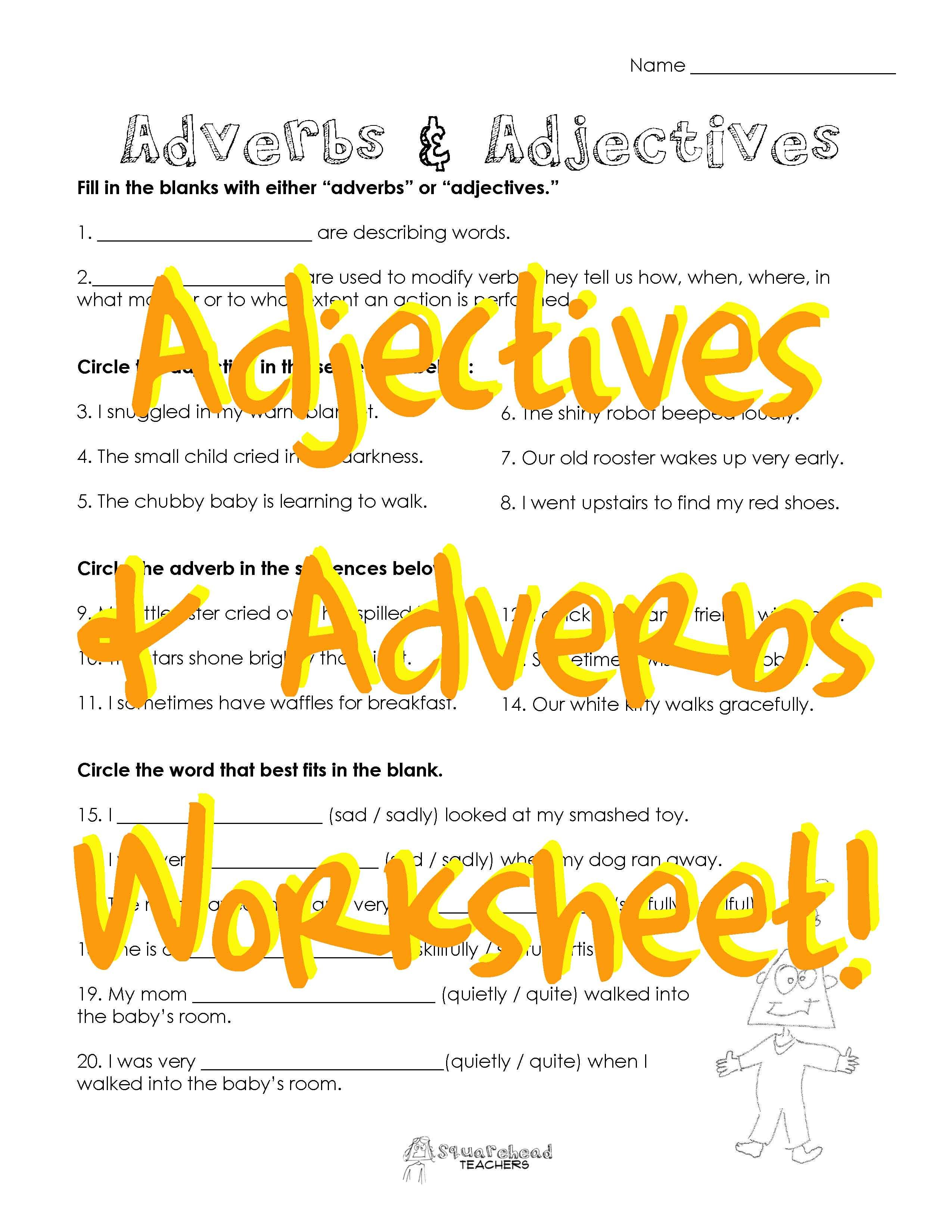 Adjectives \u0026 Adverbs 2 (free worksheet)   Adjective worksheet [ 3300 x 2550 Pixel ]