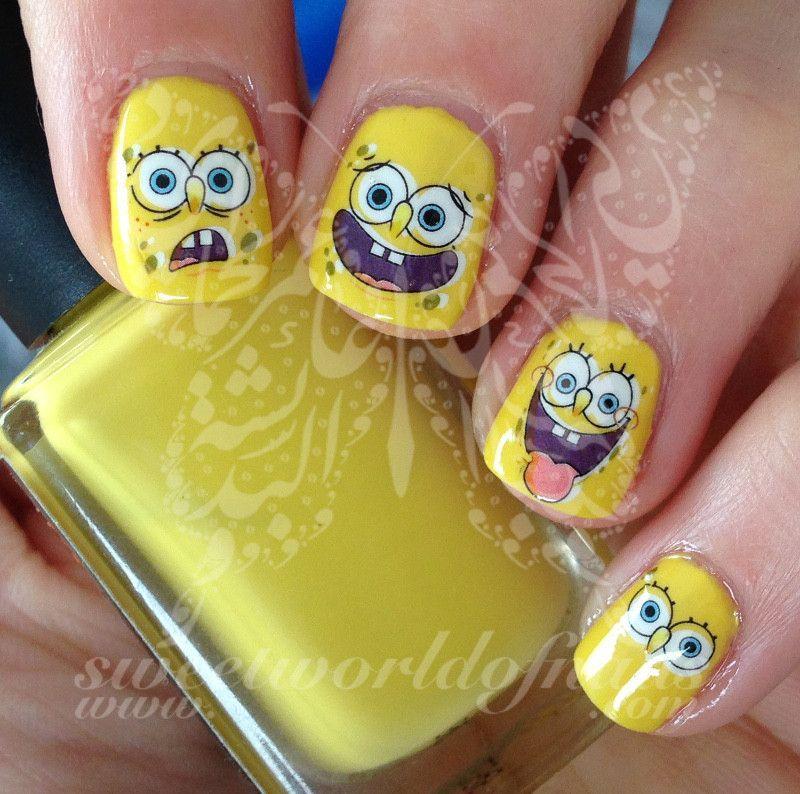 Spongebob Nail Art Nail Water Decals Nail Designs Pinterest - Spongebob nail decals