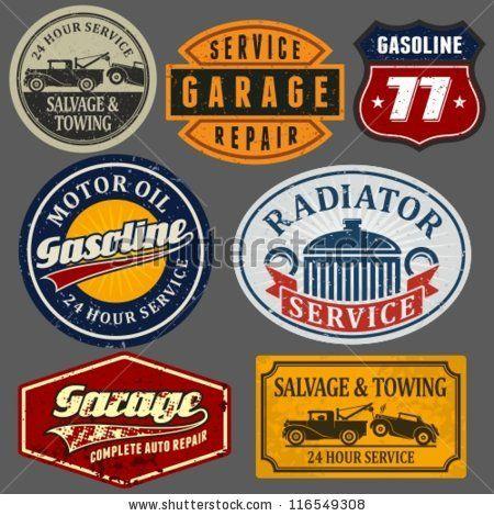 Vintage Automotive Labels And Signs Set By Voodoodot Via Shutterstock Vintage Labels Signs Garage Signs