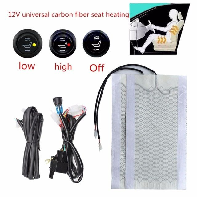 12vcarbon Fiber Universal Heated Seat Heating Heater Pads Car High