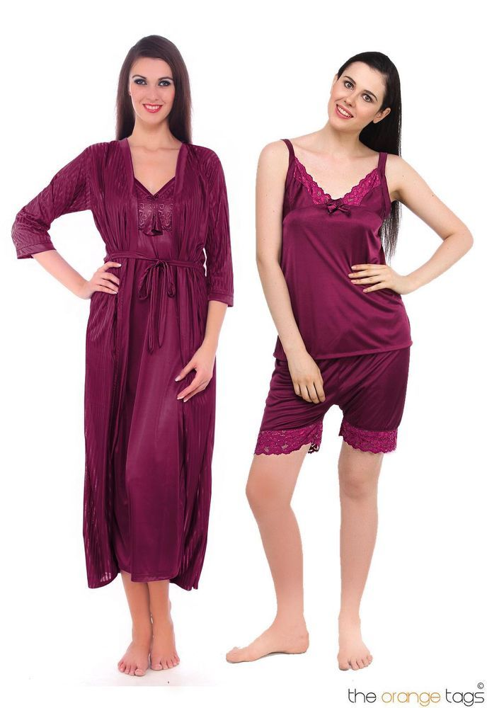 98f9dc7116 Ladies satin lace long nightdress womens nightie pyjama set robe 4 pc set