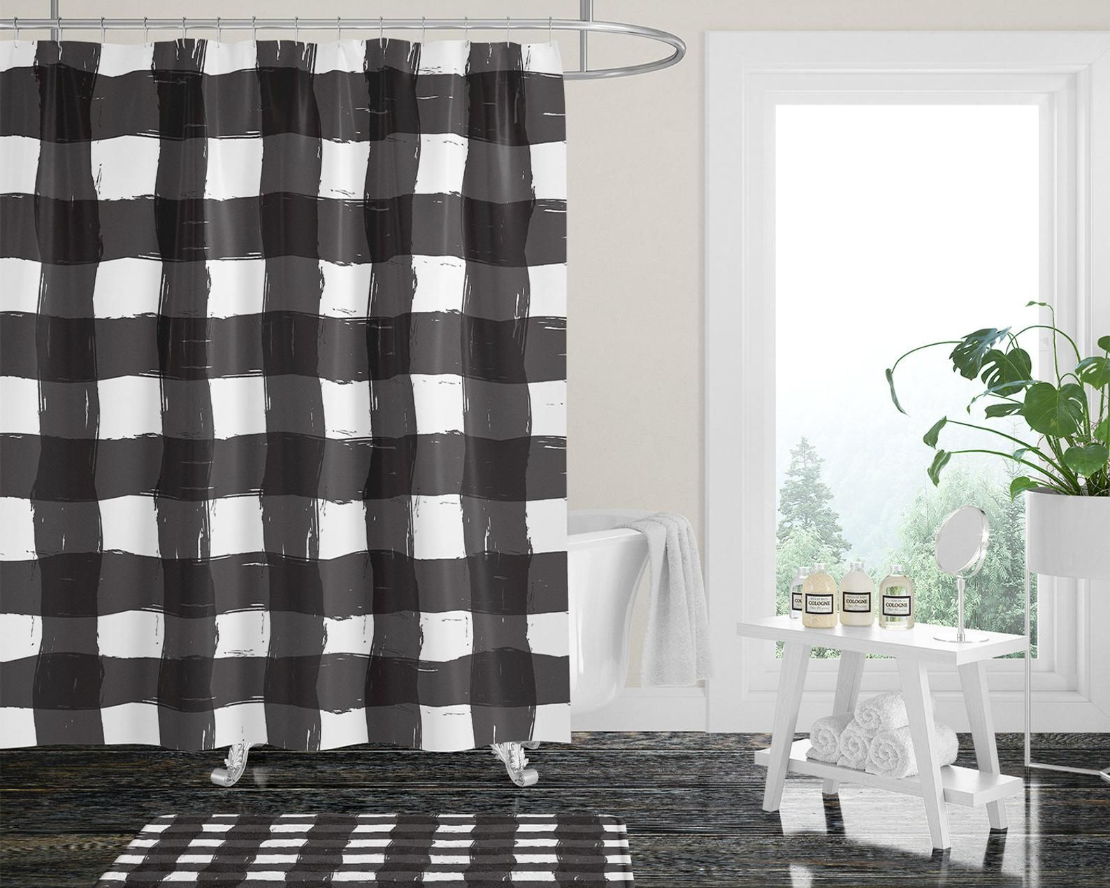 Kelly S Black And White Buffalo Plaid Shower Curtain Gray Shower