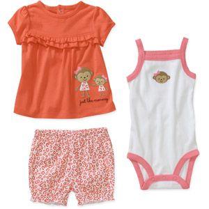 Child of Mine by Carters Newborn Girls 3 Piece Monkey Shirt, Bodysuit and Short Set