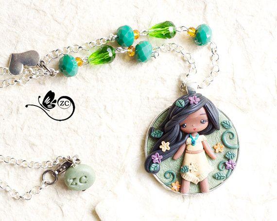 polymer clay necklace / pocahontas / disney / princess / clay