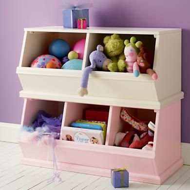 Kidsu0027 Toy Boxes: Kids Wooden Primary Stacking Storage 2 And 3 Bin In Toy