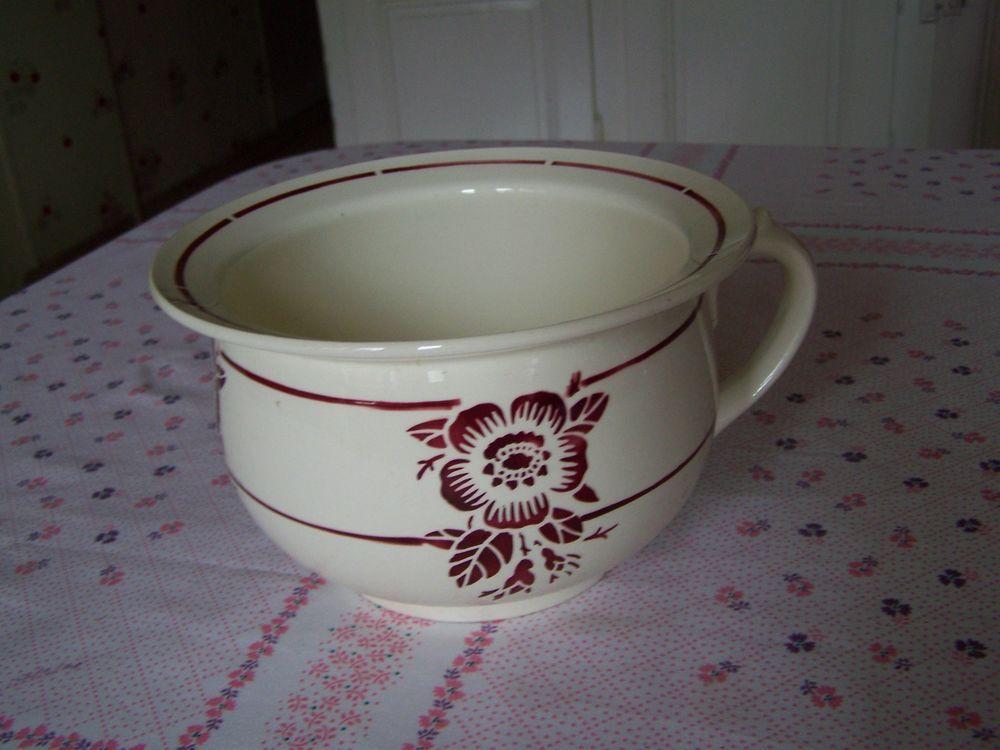rare pot de chambre vase de nuit sign badonviller france fa ence fleur rouge digoin. Black Bedroom Furniture Sets. Home Design Ideas