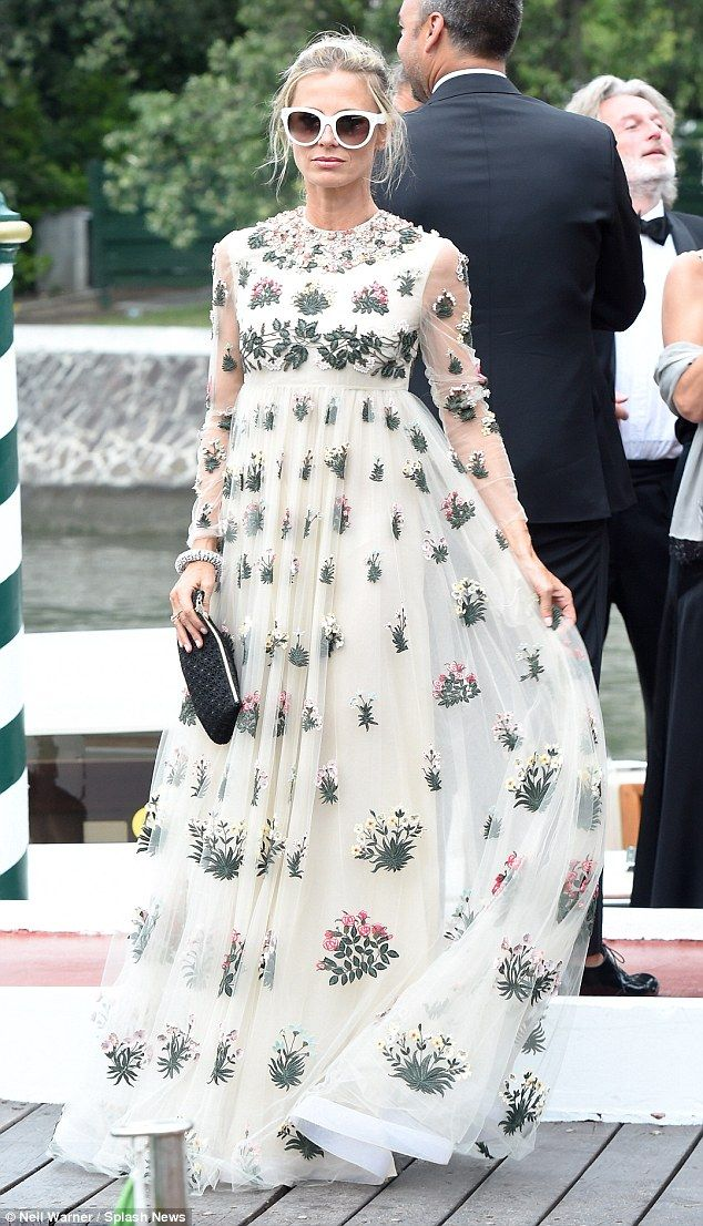 9fed07b62c15 Beautiful: Laura Bailey, 42, flaunted her fantastic figure in a  floor-length floral gown as she arrived in style at the Venice Film  Festival on Wednesday
