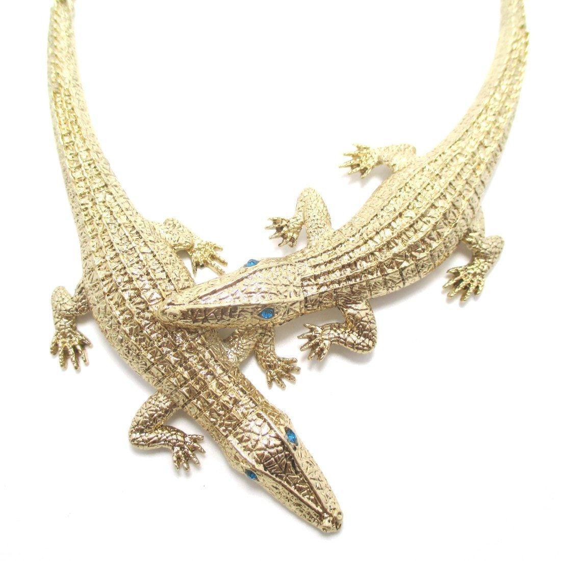 Large Alligator Crocodile Wrap Around Statement Pendant Necklace ...