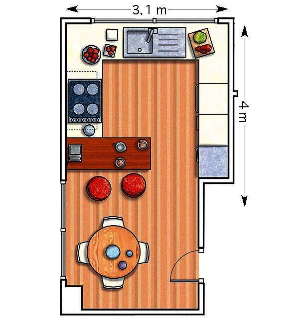 Doce cocinas con barra y sus planos cocinas con barra for Planos de una cocina pequena